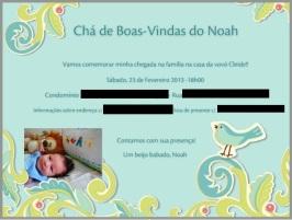 Chá de boas-vindas do Noah