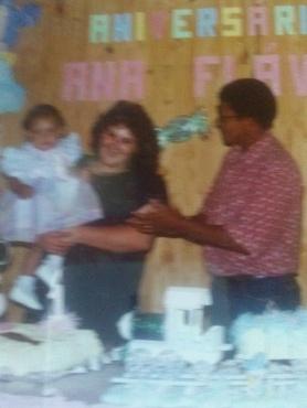 Aniversário de 1 aninho da Ana Flávia com os pais